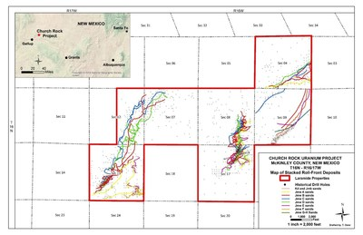 Figure 1: Map of the Church Rock Project and Stacked Roll-Fronts (CNW Group/Laramide Resources Ltd.)