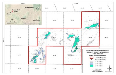 Figure 2: GT Contour Map of the Jmw B Sand Mineralization (CNW Group/Laramide Resources Ltd.)
